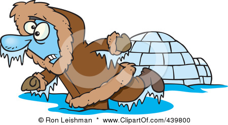 439800-cartoon-frozen-eskimo-near-an-igloo